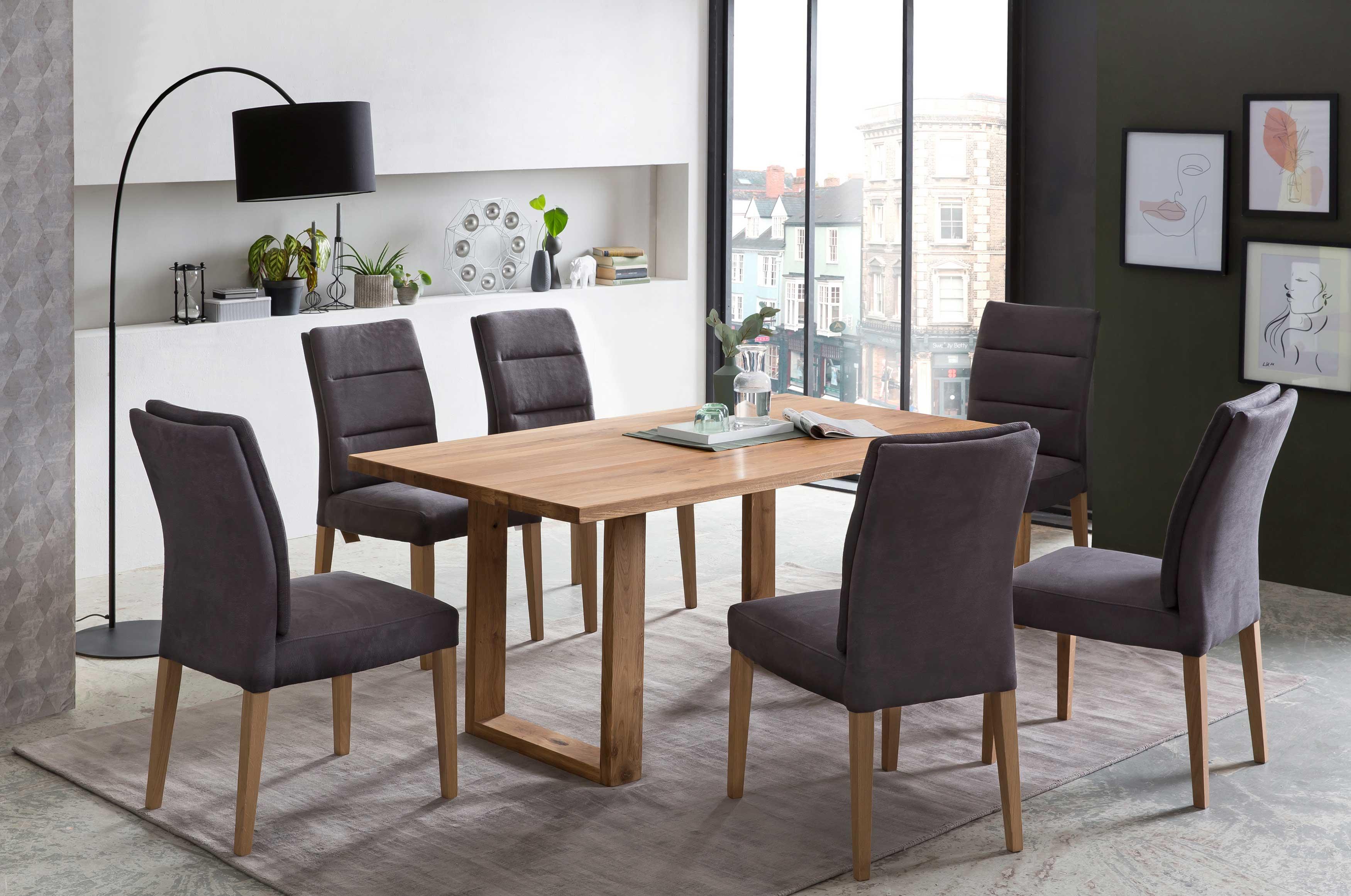 Standard Furniture Tischgruppe mit Orlando Massivholztisch und Stühlen Flynn8 eiche