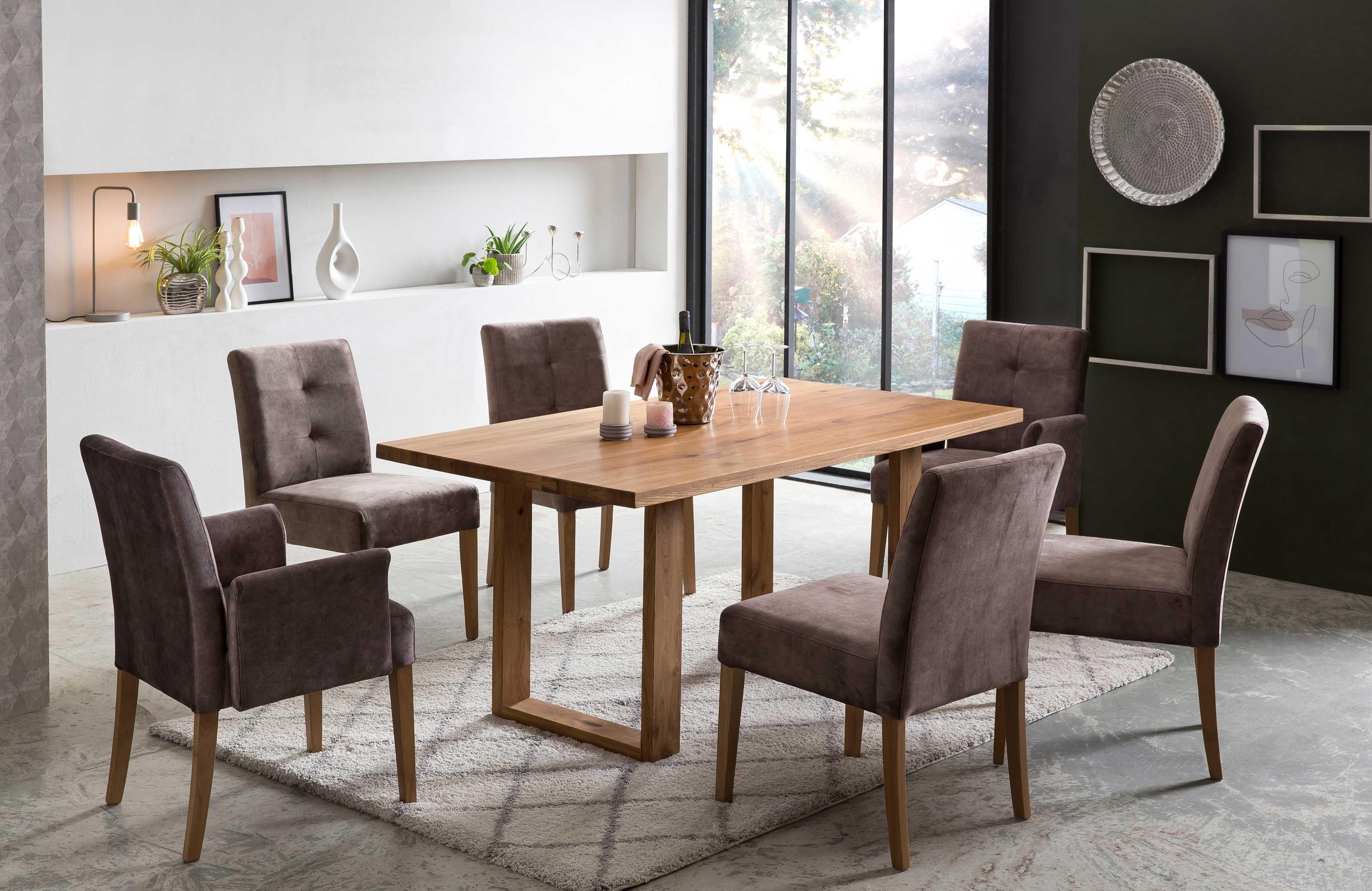 Standard Furniture Tischgruppe mit Orlando Massivholztisch eiche natur