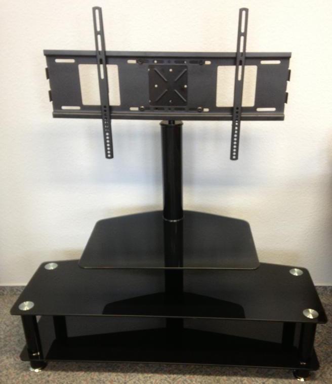 Das Bild zeigt einen TV Glastisch für Flachbildschirme schwarz.