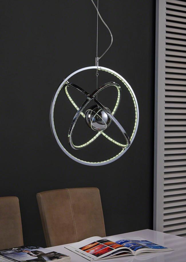 moderne LED Hängelampe chrom mit Leuchtringen