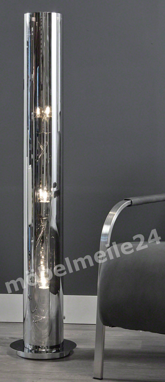 Stehlampe chrom mit verspiegeltem Lampenschirm
