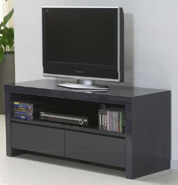 Das Bild zeigt ein TV Sideboard schwarz Hochglanz mit 2 Schubladen.