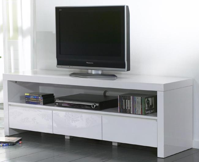 Das Bild zeigt einen TV Unterschrank weiß Hochglanz mit 3 Schubladen.